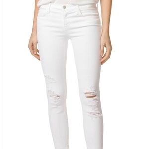 J brand white jeans destroyed rips in knee